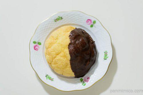 ヤマザキチョコがけメロンパンサンド皿盛り