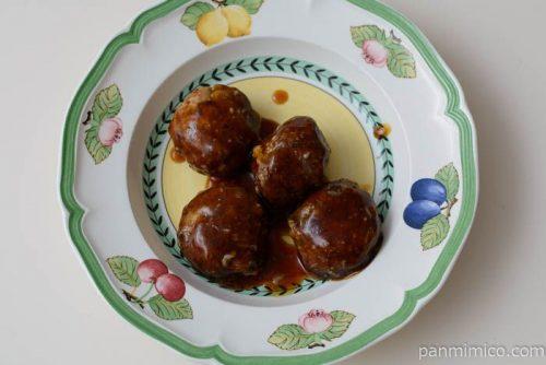 コープ黒酢ソースの大粒中華風肉だんご皿盛り