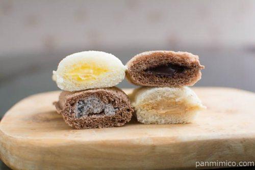 ランチパック(4種のおいしさ)(ピーナッツ・アップルカスタード・チョコ・クッキークリーム)【ヤマザキ】断面図