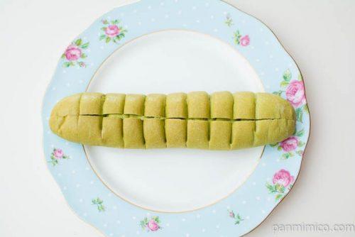 ちぎれる抹茶あずきクリームフランスパン【ローソン】上から見た図