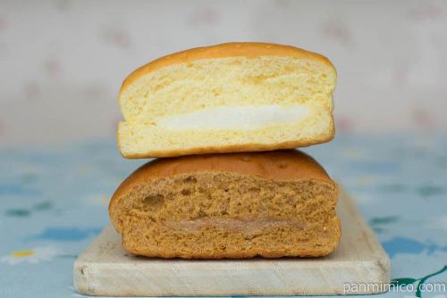 2色の牛乳パン(コーヒー&ミルク)【セブンイレブン】断面図
